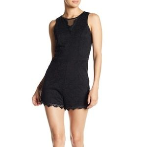 Bebe Black Floral Lace Sleeveless Lined Romper